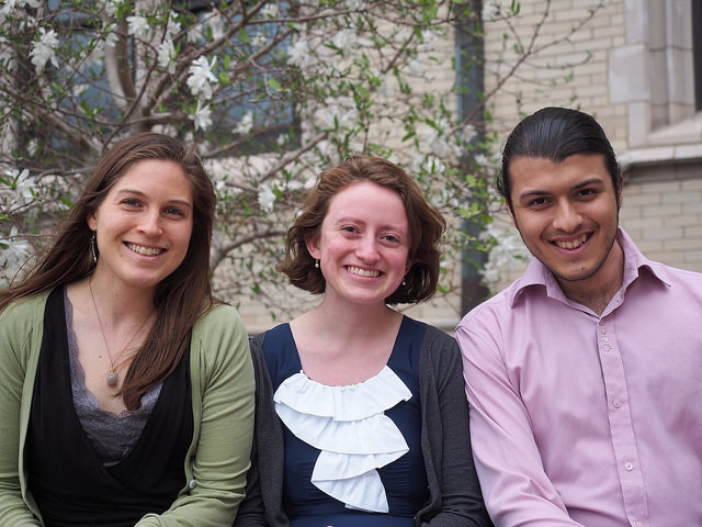 COLLEGE OF WOOSTER students (from left)Erin Andrews-Sharer, Annette Hilton and Ruben Aguero. (Not pictured - Matt Mariola and KWLT President Maryanna Biggio)